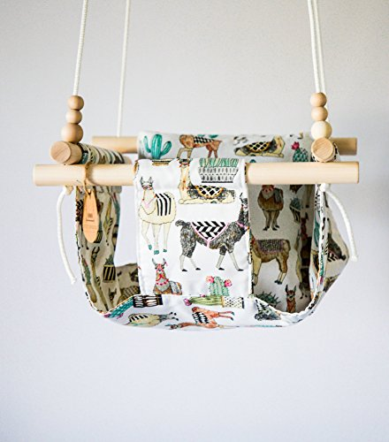 HIGH BACK Indoor/Outdoor Llama Cactus Fabric Baby Swing by Sweet Swinging
