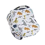 Little Unicorn Cotton Muslin Car Seat Canopy - Dino Friends