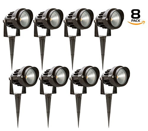 Westgate 5W LED Landscape Light, W/ COB Technology & Smooth Aluminum Reflector 12V AC/DC Suitable for Wet Locations, 5 Year Warranty (8 Pack, 3200K Warm White) - Mini Aluminum Reflector