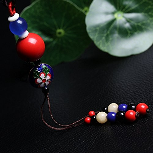 TKHNE Chain length sweater national wind autumn models retro art Fan Cinnabar necklace pendant ornaments hanging clothes and long sections
