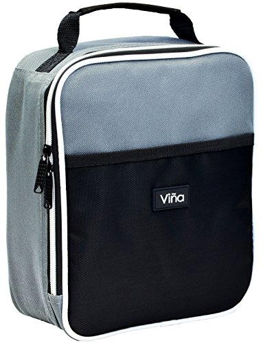 Vina Portable Lunch Bag Food Drinks Fruits Cooler Tote Outdoor Sports Yoga Running Thermal Insulated Lunchbox Single Layer with Dual Zipper Closure, Front Pocket Black - Fruit Lunch Bag
