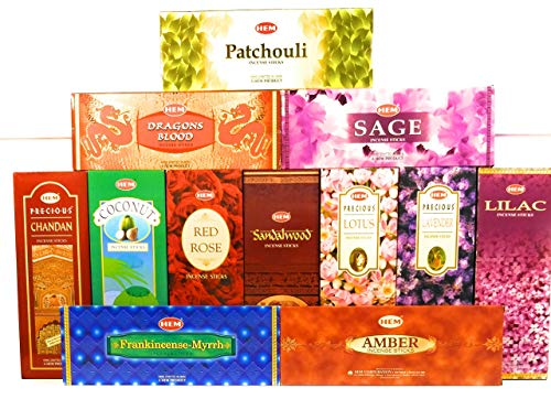 - Hem Incense -12 box best variety pack 20 sticks each - 240 sticks - 240g - Chandan, Coconut, Dragon's Blood, Sandalwood, Lotus, Red Rose, Lavender, Lilac, Amber, Patcouli, Frankincense-Myrrh, Sage