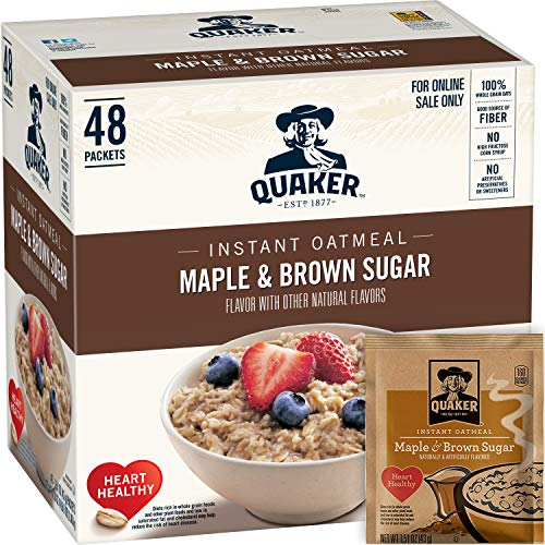 Total Fiber System - Quaker Instant Oatmeal Maple Brown Sugar, Breakfast Cereal, 48 Packets (Packaging Will Vary)