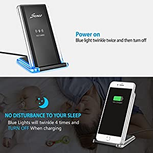 Seneo iPhone X Wireless Charger, 2-Coil Fast Wireless Charger Pad Stand with Breathing Light for Galaxy Note 8/5 S8 S8 Plus S7/S7 Edge S6 Edge Plus, Standard Charge for iPhone X 8 8 Plus-NO AC Adapter