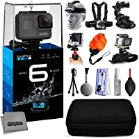 GoPro Hero 6 HERO6 Black CHDHX-601 with Headstrap + Chest Harness + Suction Cup + Handgrip + Floaty Strap + Wrist Hand Glove + Premium Case + Mini Tripod + Dust Blower + Cleaning Kit