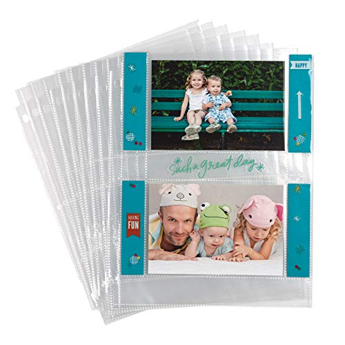 Samsill 25 Pack 4x6 Photo Album Pages for 3 Ring Binder, Archival Photo Sleeves with 2 Pocket Top Loading Slots