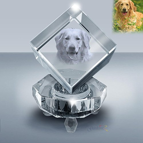 Custom Photo Crystal Jewel Cube Gift Set, Personalized Laser Etching Picture in Crystal by Goodcount (M - 2.5