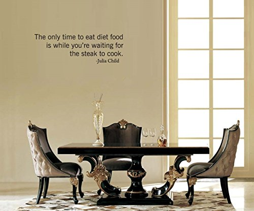 Kitchen Decals Home Quotes Wall Stickers The Onyl Time to Eat Diet Fgood is While You're Waiting for The Steak to Cook- Julia Child for Kitchen Family Decals
