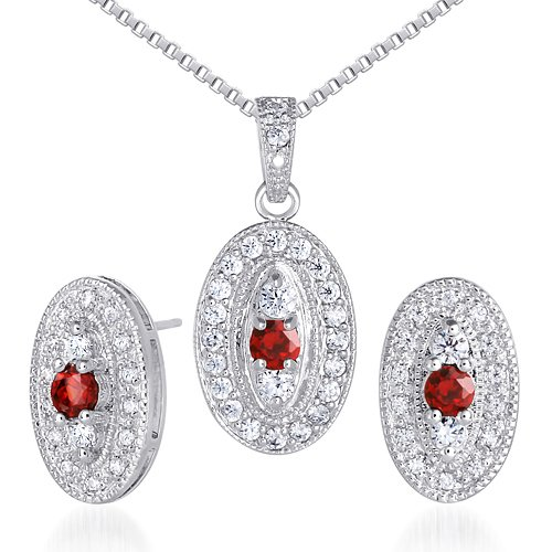 Vibrant 0.75 carat Round Shape Garnet Pendant Earrings Set in Sterling Silver Rhodium Nickel Finish