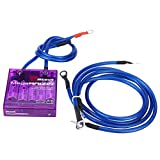 Qiilu Universal Fuel Saver Voltage Stabilizer Regulator Kit W/ 3 Earth Ground Cables for Car Truck(Purple)