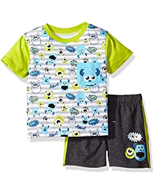 Disney Baby Boys' 2 Piece Monsters Inc. French Terry Short Set