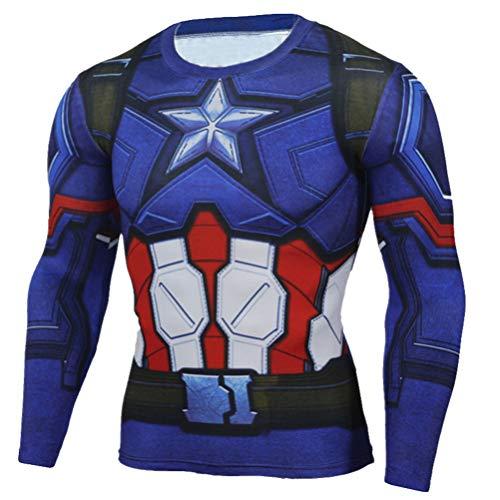 Long Sleeve Captain America Compression Athletic Shirt Mens Costume Shirt XL