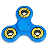 EDC Fidget Spinner Toy Durable Concave Caps (No Lead Or Mercury) Hybrid Ceramic Bearings - Non 3D Printed - ADHD Relief - Multiple Colors Available Tri-Spinner (Blue Body - Yellow Bearings)