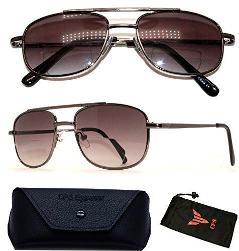 (#FR6119BF) Unisex Aviator Retro Bifocal Sun Readers Spring Hinged Reading Glasses Sunglasses (Black, - Discount Readers Sunglasses