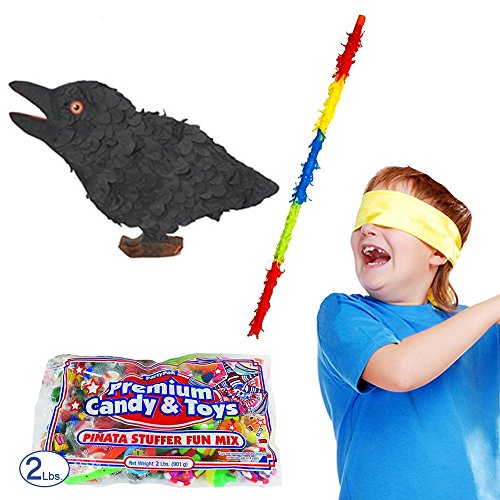 Pinatas Crow Halloween Pinata Kit Including Pinata, Buster Stick, Bandana and 2 lbs. Candy (Halloween Bat Pinata)