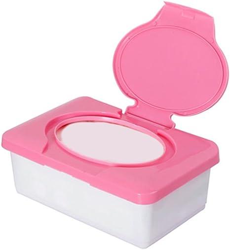 Caja para toallitas de bebé, dispensador de toallitas de plástico, organizador de pañales rosa rosa: Amazon.es: Bebé