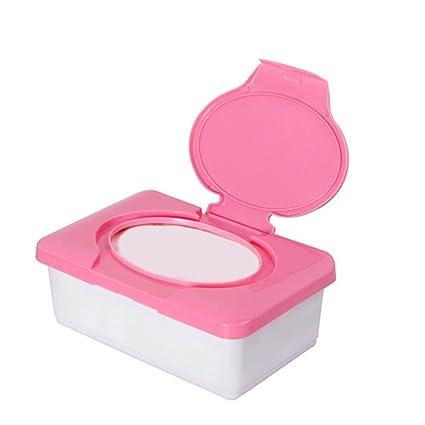 Caja para toallitas de bebé, dispensador de toallitas de plástico, organizador de pañales rosa