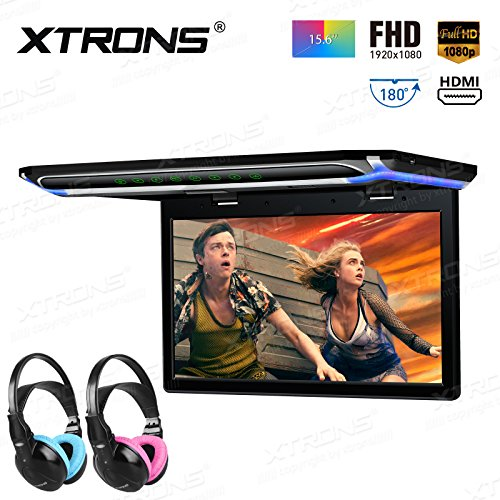 XTRONS 15.6 Inch Ultra-thin FHD Digital TFT Screen 1080P Video Car Overhead Player Roof Mounted Monitor HDMI Port Children IR Headphones(Blue&Pink)