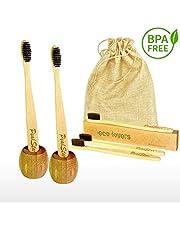 5x Cepillo Dientes Bambu PREMIUM PeakStar | 100% Biodegradable sin BPA | 2 Holders Homenaje