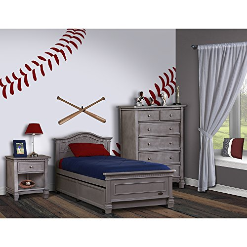 Evolur Cheyenne Twin Bed and Rail, Storm Grey