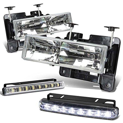 Chevy C10 Chrome Housing (Chevy/GMC C/K-Series GMT400 Chrome Housing Headlight+DRL 8 LED Fog Light)