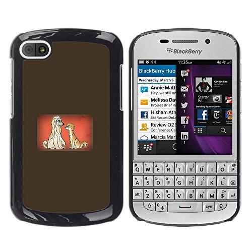 KOKO CASE / BlackBerry Q10 / dogs couple love cartoon fairytale drawing / Slim Black Plastic Case Cover Shell (Fairy Tale Couples)