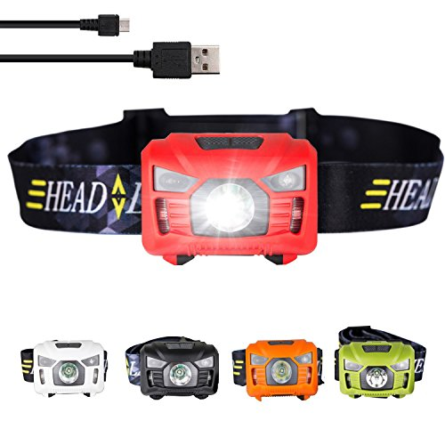 three trees Sensor Headlamp LED Headlight Waterproof,Shockproof Headlight 4 Modes Up to 200 Lumens Bonus Batteries & Reflective Band. Best For Running, Biking, Camping, Fishing, Hiking (red)