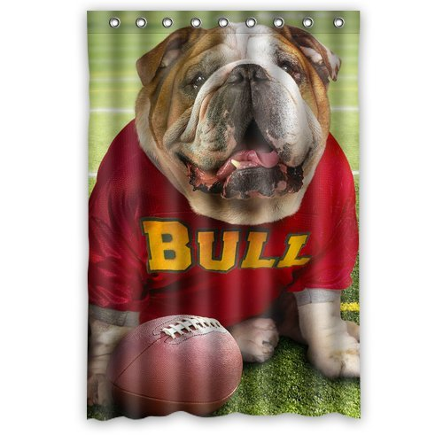 (Funny Bulldog Playing Football Waterproof Bathroom Polyester Shower Curtain decor 48