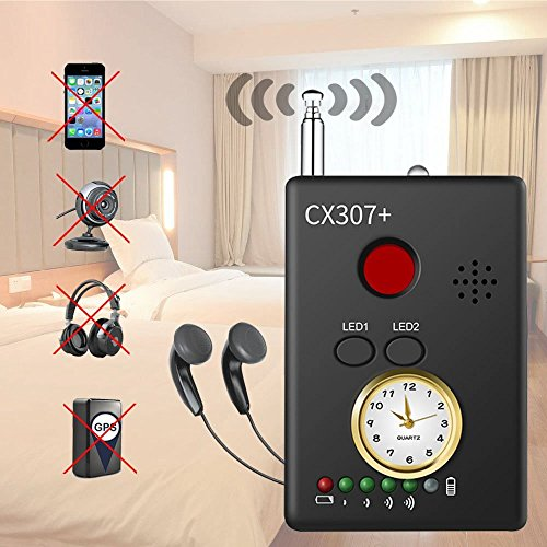 RF Bug Detector, Amzchen RF Signal Detector Wireless Anti-spy Hidden Camera Lens Detector Radio Wave Signal Detect Full-Range GSM Device Finder for Anti Eavesdropping Candid GPS Tracker (Bug Detector)
