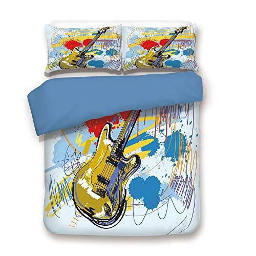 Musical Instrument Cora - Duvet Cover Set,Blue Back,Art,Abstract Musical Instrument Expressionist Artwork Stained and Tainted Background Print,Teal Yellow,Decorative 3 Pcs Bedding Set by 2 Pillow Shams,Twin Size
