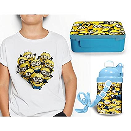 64950fd3 Buy Giftix Customized Minions Print Lunch Tiffin Box, Water Bottle & Round  Neck Cotton White t-Shirt for Kids (Combo) Online at Low Prices in India ...