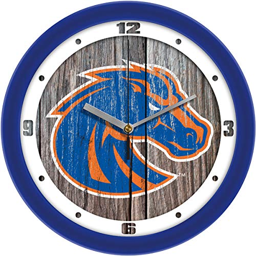 SunTime Boise State Broncos - Weathered Wood Wall Clock