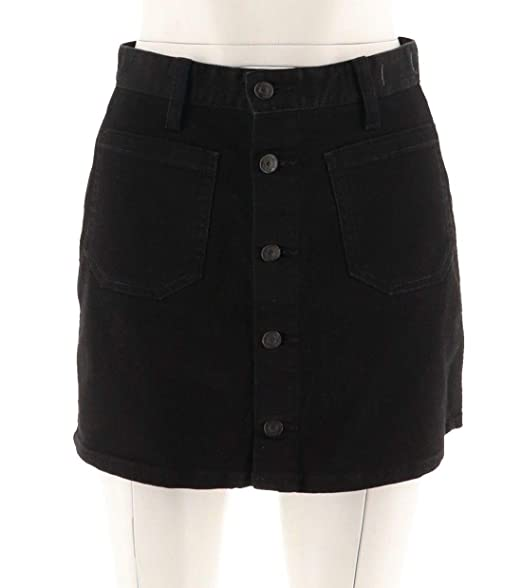 aee9f74b7cb8 Denim & Supply Ralph Lauren Womens Button-Front Denim Skirt (Black ...