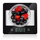 Glass Kitchen Scale, Home Gizmo Food Scales Digital Weight Gram, Small Postage Scale Multifunction Accurate with Large LCD Display for Baking and Cooking(11.02lb/5 kg)