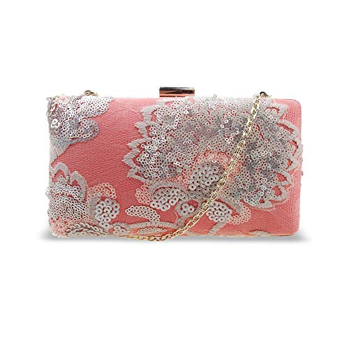 Women's Embroided Flower Acrylic Evening Bag for Weddings, Parties and Proms Coral