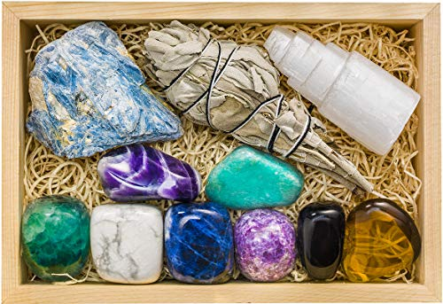 Crystalya Premium Grade Crystals and Healing Stones for Relaxation, Stress, Anxiety Relief, Sleep in Wooden Box…