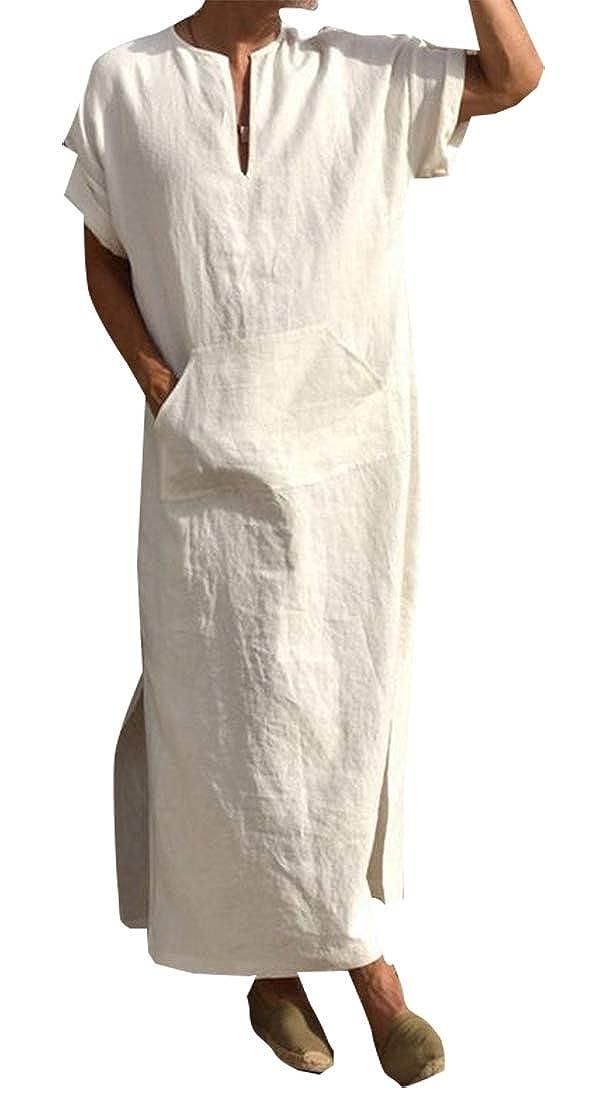 Generic Mens Long Sleeve Ethnic Robes Solid Color Hooded Vintage Kaftan Robe Dress