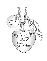 Cremation Jewelry Grandpa Heart Urn necklace 26 Initial Letter Alphabet Monogram Angel Wing Charms Memorial Keepsake Urn Pendant for ash