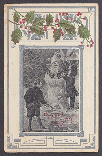 Children making Santa Claus snowman embossed Christmas postcard -