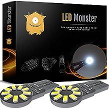 LED Monster 2-Pack White 18SMD LED Bulbs 194 168 T10 2825 Car Dome Map License Plate Lights Lamp (White)