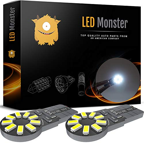 LED Monster 2-Pack White 18SMD LED Bulbs 194 168 T10 2825 Car Dome Map License Plate Lights Lamp (White)