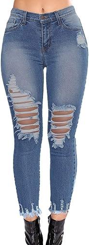 Sunmoot Sexy Women Skinny Mom Jeans Hole Broken Slim High Waist Pencil Pants
