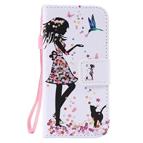 iPod Touch 5 Case, Love Sound [Cat Girl] [Stand Feature] Premium Wallet PU Leather Folio Wallet Flip Case Cover Built-in Card Slots for Apple iPod Touch Generation 5/Touch 6 with Hand Strap