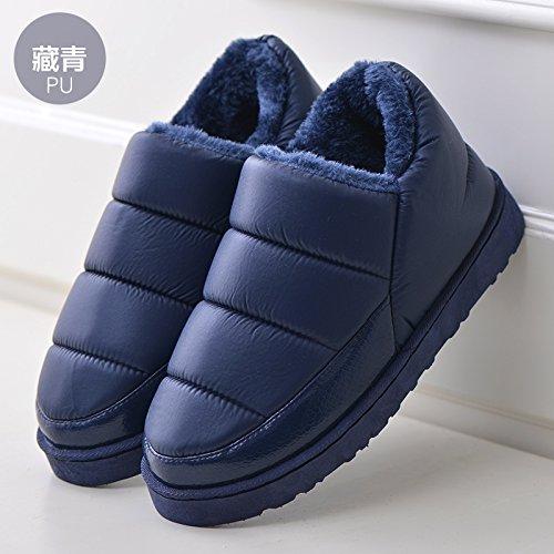 DogHaccd Zapatillas,Zapatillas de algodón resistente al agua con paquete de otoño e invierno los amantes del aire libre y de interior estancia cálida grueso antideslizante SHOES Azul oscuro2