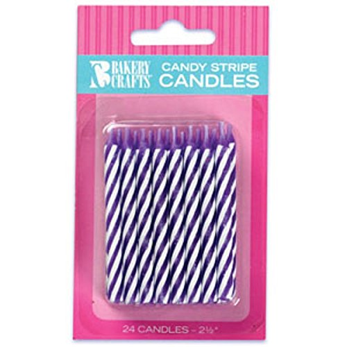 Oasis Supply Candy Stripe Birthday Candles, 2.5-Inch, Purple