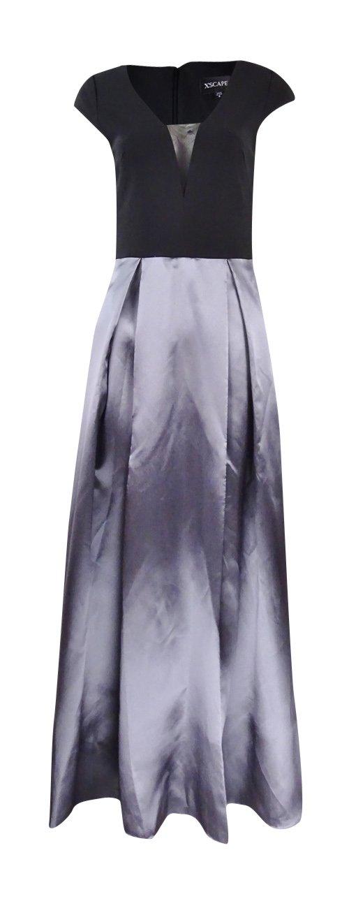 Xscape Women's V-Neck Colorblocked Jersey Taffeta Gown (6, Black/Grey)