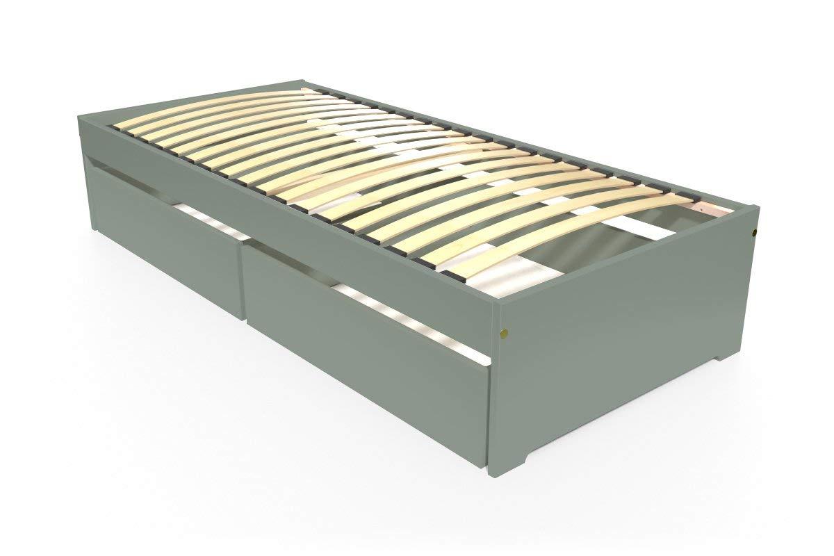 ABC MEUBLES - Einzelbett Malo 90x190 cm + Schubladen - TOPMALO90T - Grau, 90x190