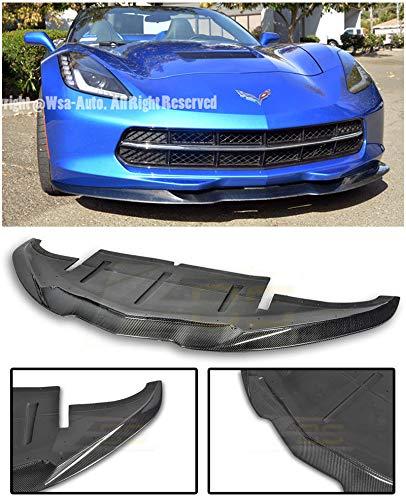 Replacement for 2014-2019 Chevrolet Corvette C7   EOS Aero Bottom Line Style Carbon Fiber Front Bumper Lower Lip Splitter EOS-FLIP-081-BKCF