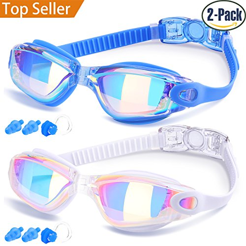 Swim Goggles, Pack of 2, Swimming Goggles for Adult Men Women Youth Kids Child, Triathlon Equipment, with Mirrored & Clear Anti-Fog, Waterproof, UV 400 Protection (Goggle Skin Mirror)