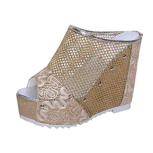 Ouneed ® Las mujeres señoras verano hueco alta cuña Flip Flops Oro
